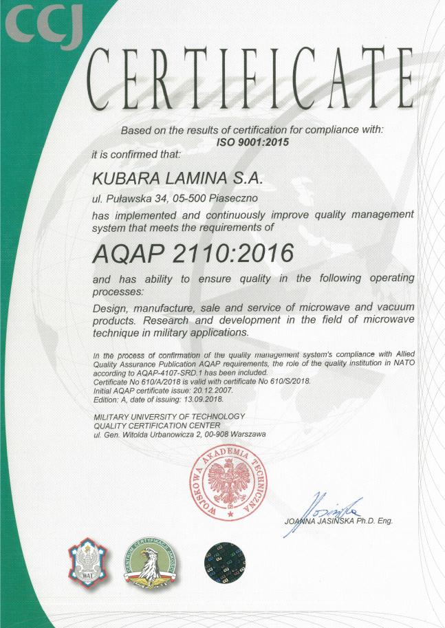 Certificate-AQAP-2110-2016